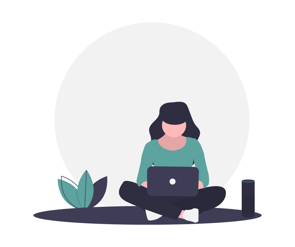 woman working on a laptop computer illustration