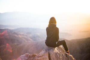 Girl on mountain, be present, just be, being, mindfullness